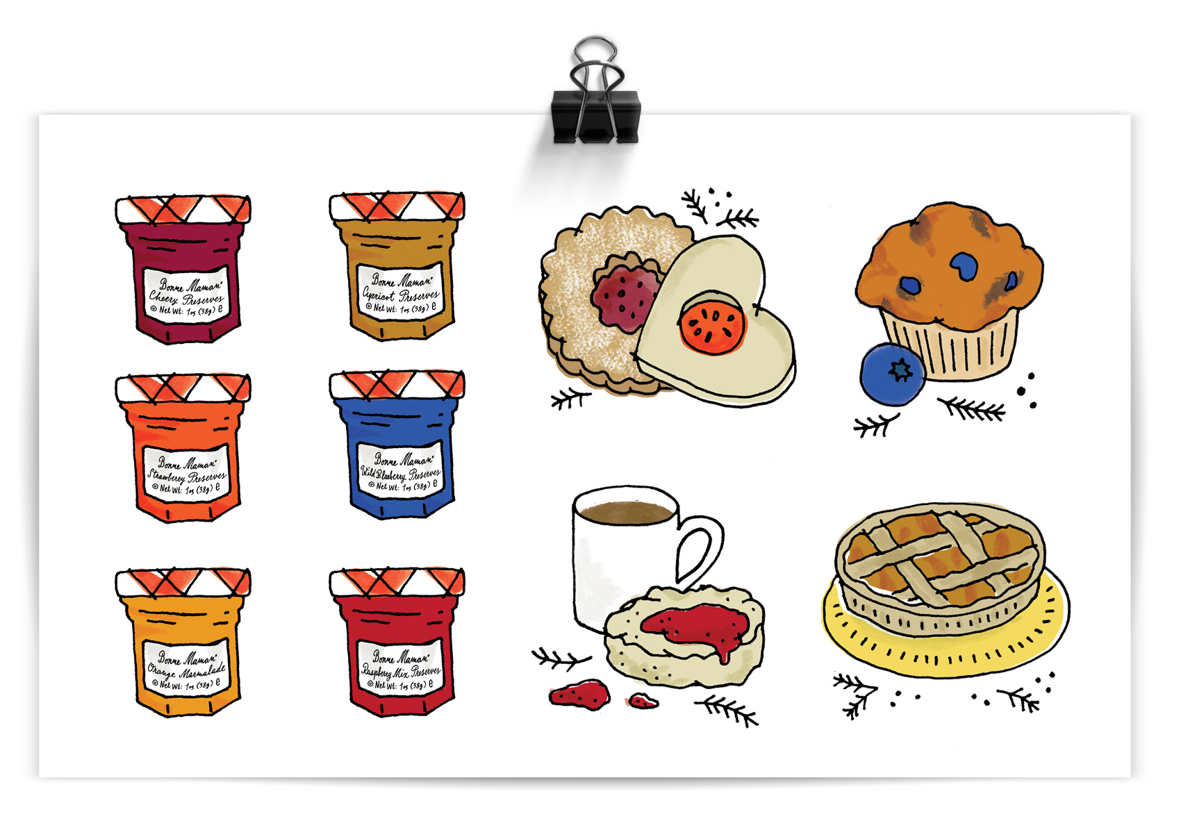 Illustrations of tiny Bonne Maman preserve jars and sweet treats they can be use for.