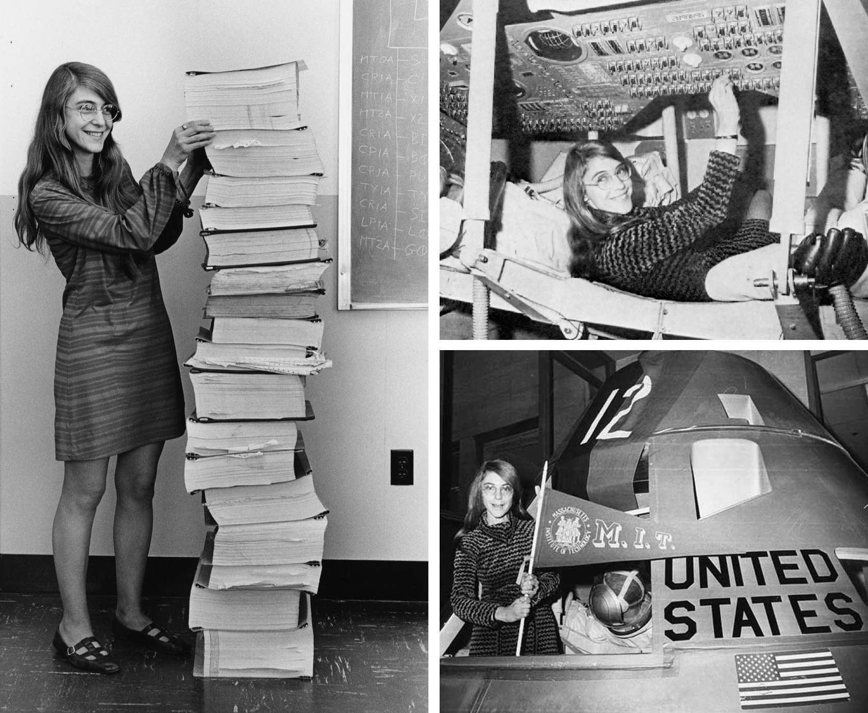 three photos of female coder Margaret Hamilton who worked for Nasa and helped with the Apollo mission