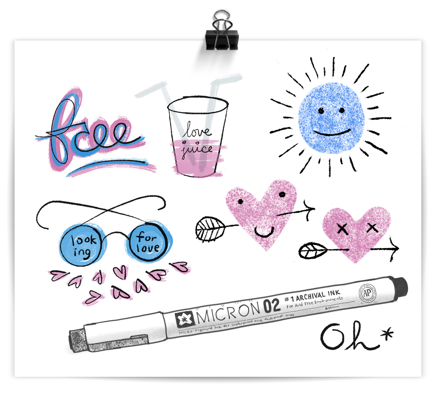 free typography, love juice cup, looking for love glasses, micron pen sketch