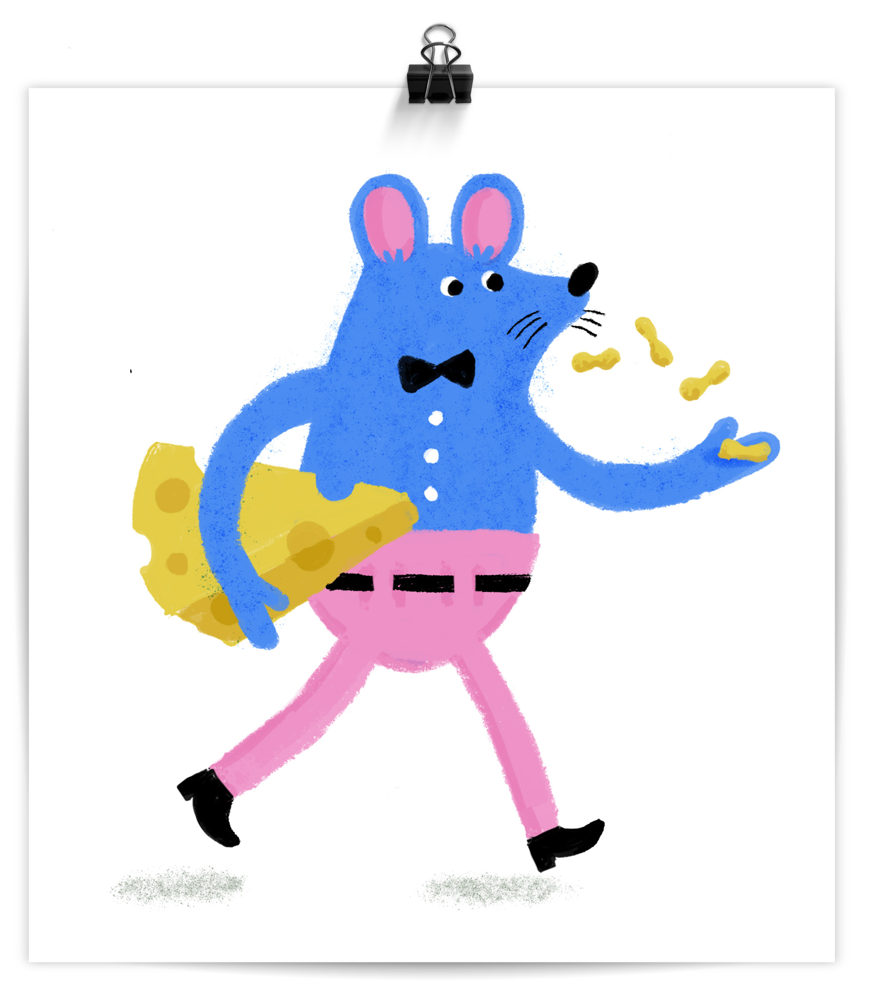 a blue mouse in pink pants carrying some cheese and eating peanuts