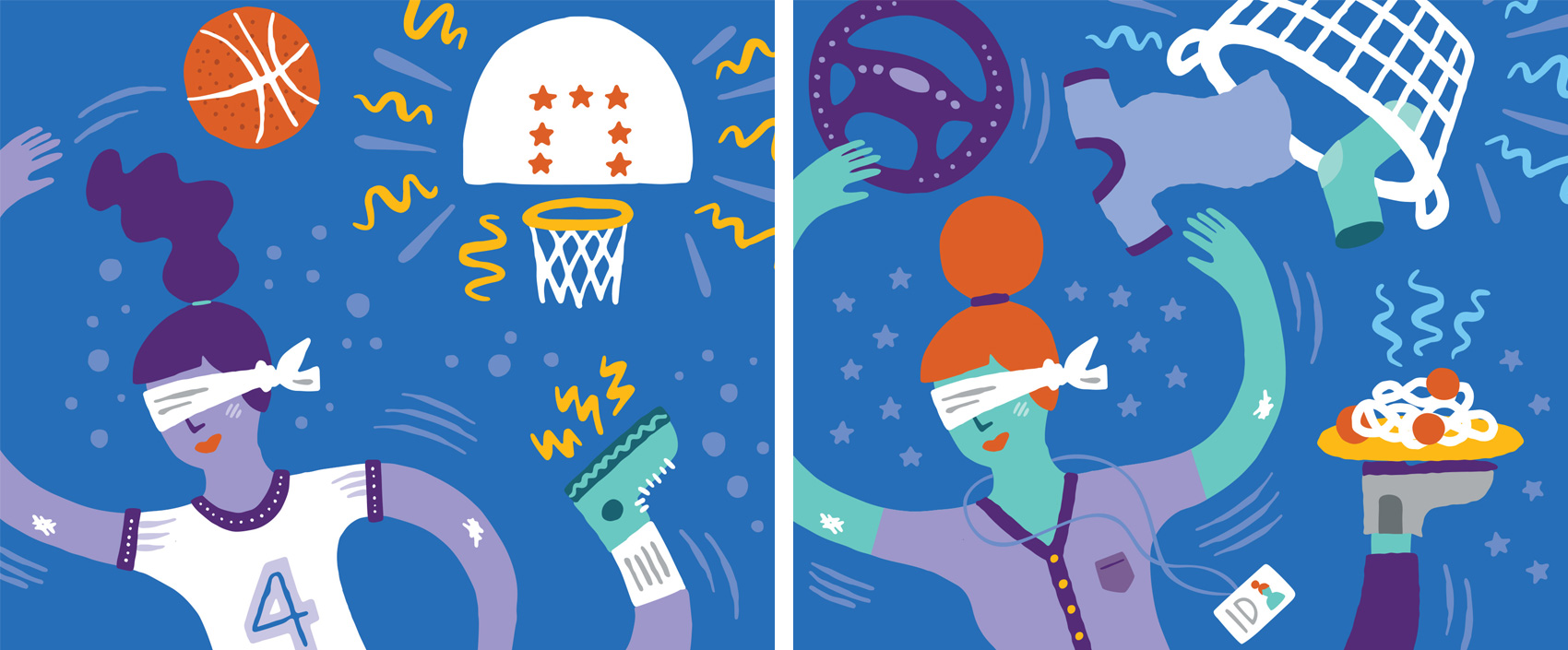 Illustration of a teenage girl tossing a basketball into a hoop. // Illustration of a mom tossing clothes into a laundry basket