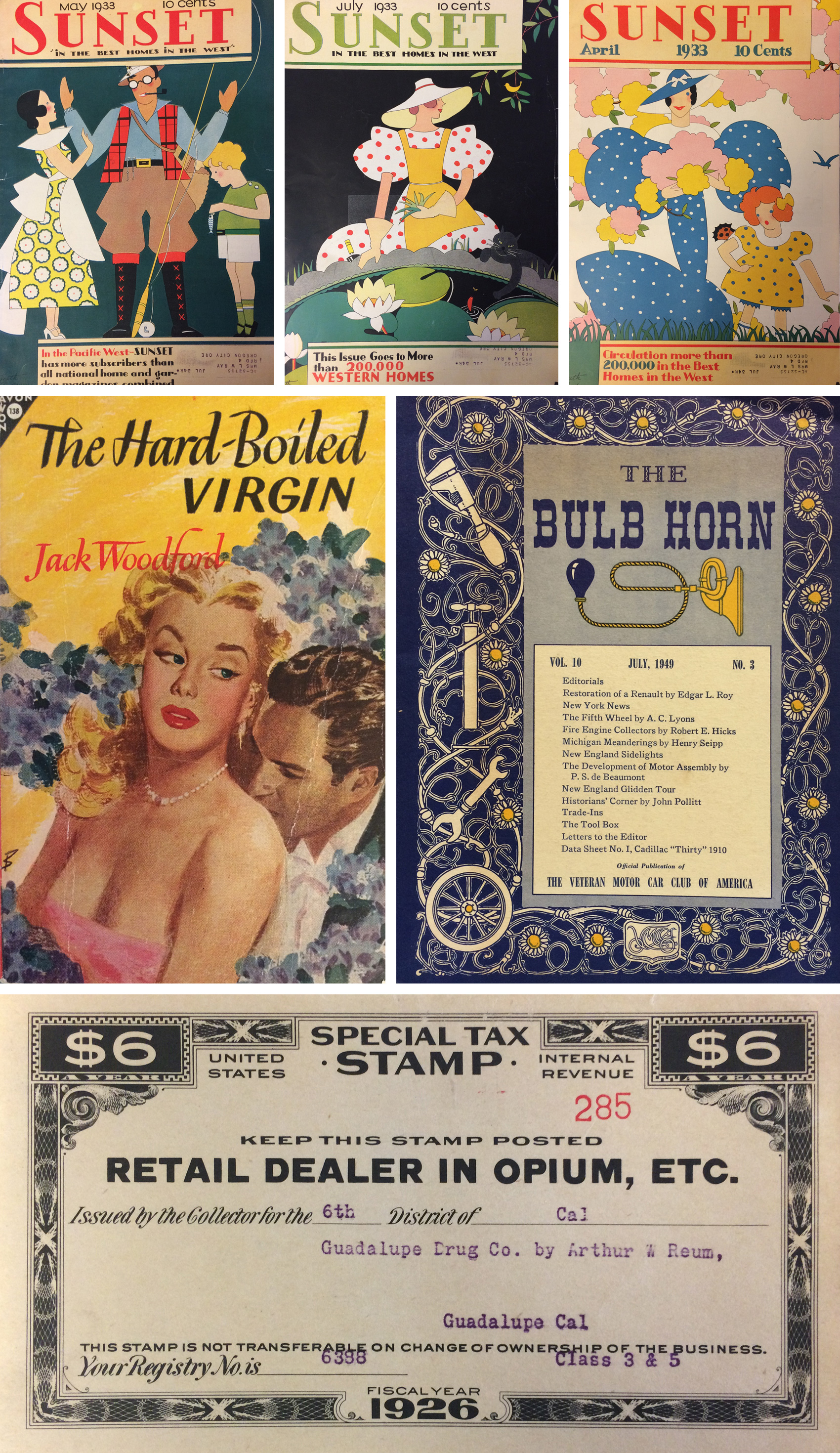 vintage sunset magazine illustrated covers from 1933, fun book covers, and a tax certificate for being a retail dealer in opium.