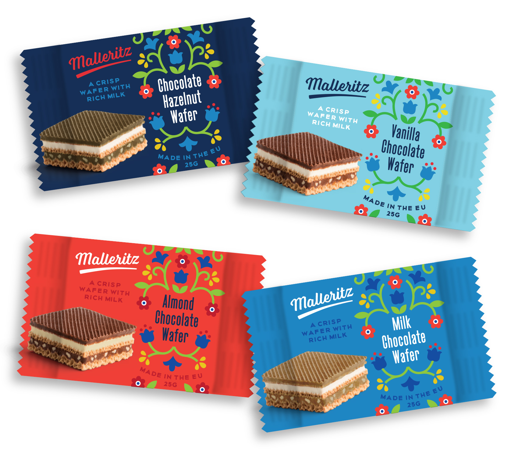 Concept packaging for chocolate wafers in four flavor ways: chocolate, vanilla, milk chocolate, and hazelnut. Illustration in a modern style but with traditional European motifs.