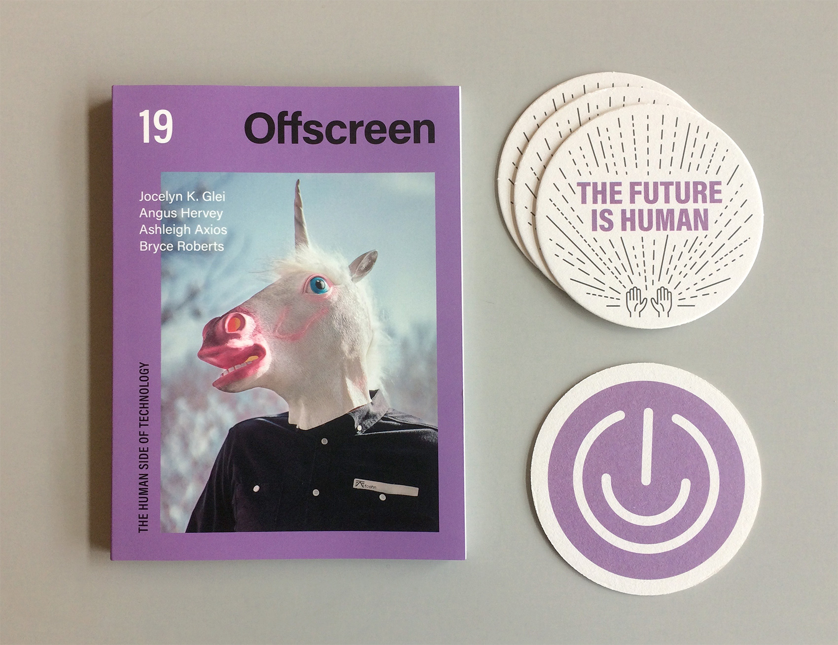 "Offscreen magazine issue 19 with coaster design ""the future is human"" and a digital high five."