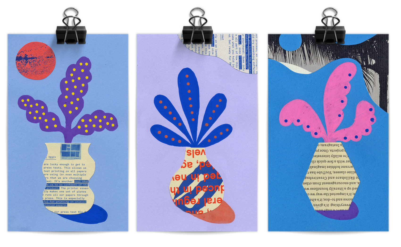 Posca marker artwork of three plants in vases, using markers and collage paper from the Mohawk Maker's Quarterly.
