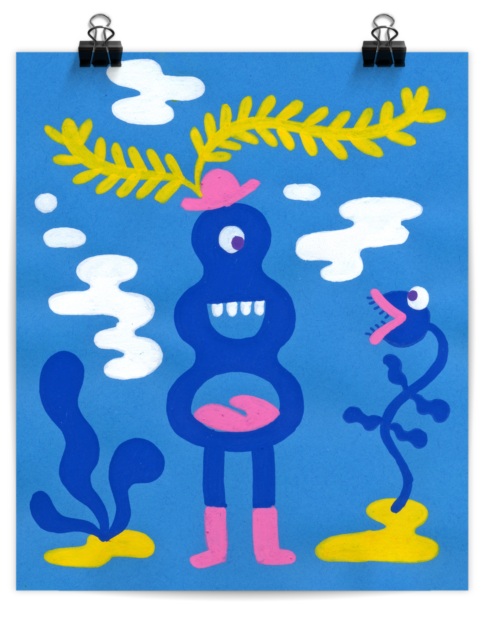 Posca marker artwork of a happy monster wearing a yellow-feathered hat and talking to a venus fly trap.