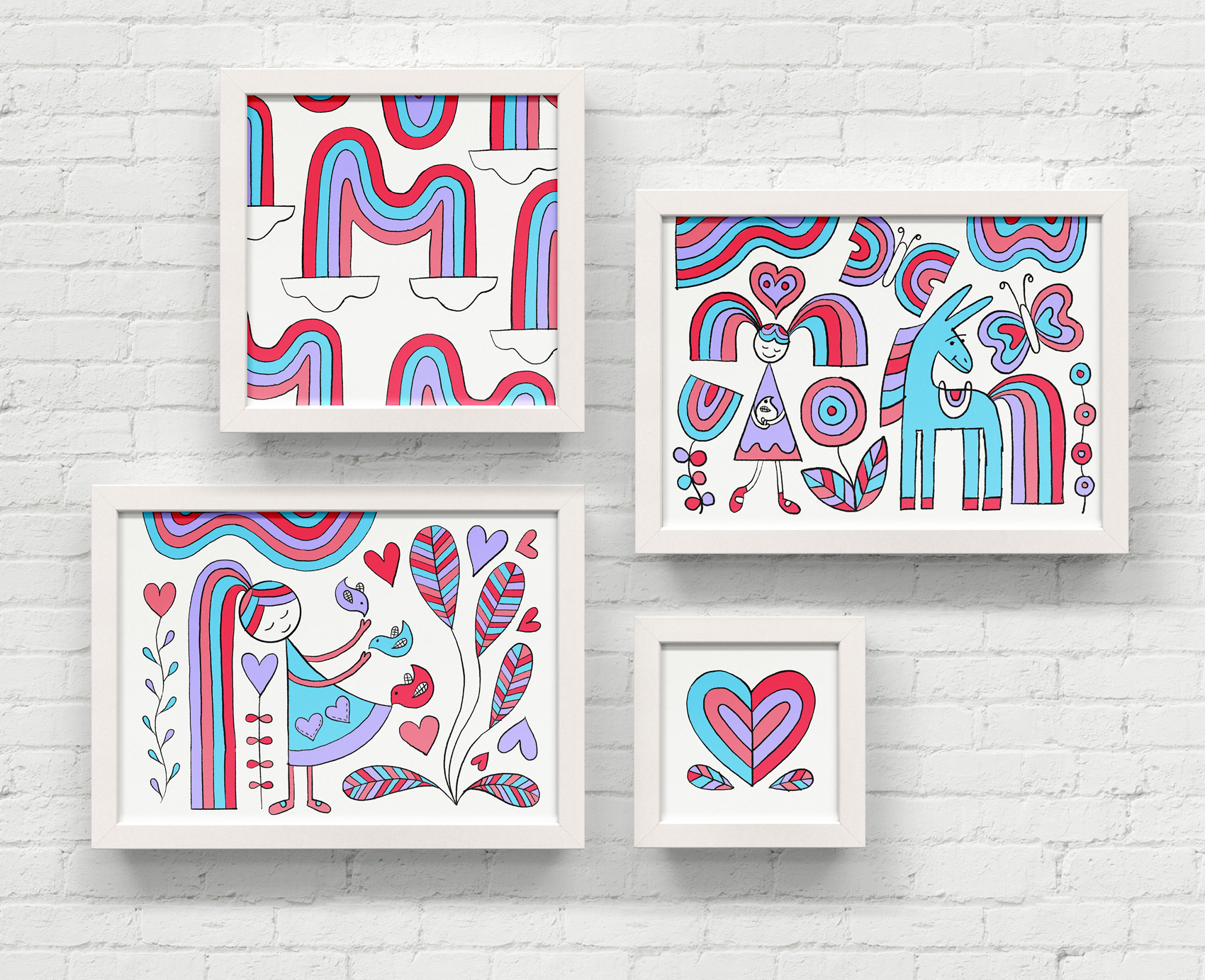 Series of four illustrations done in four rainbow-tastic colors. A girl and her mule, a bifurcated heart, rainbows everywhere, and a rainbow world interpretation of the Cinderella dress scene.