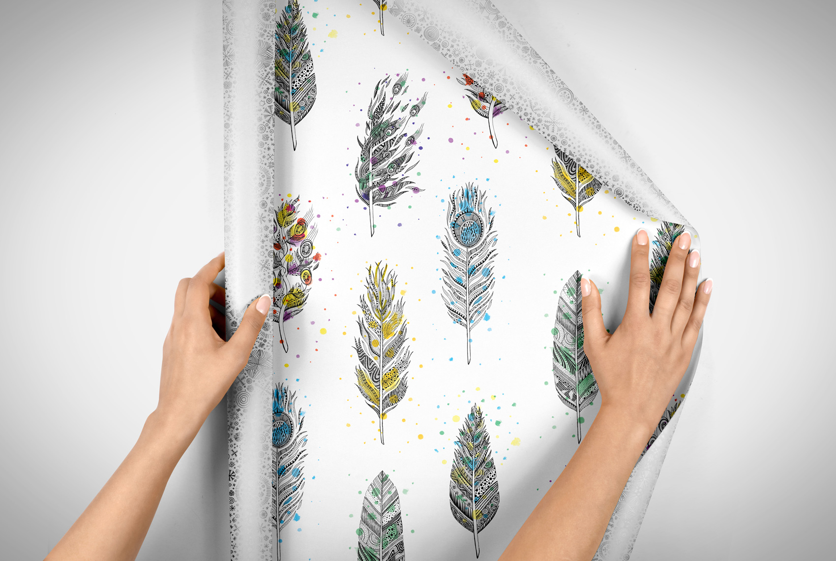 Illustrated feather hand drawn gift wrap pattern or wallpaper.