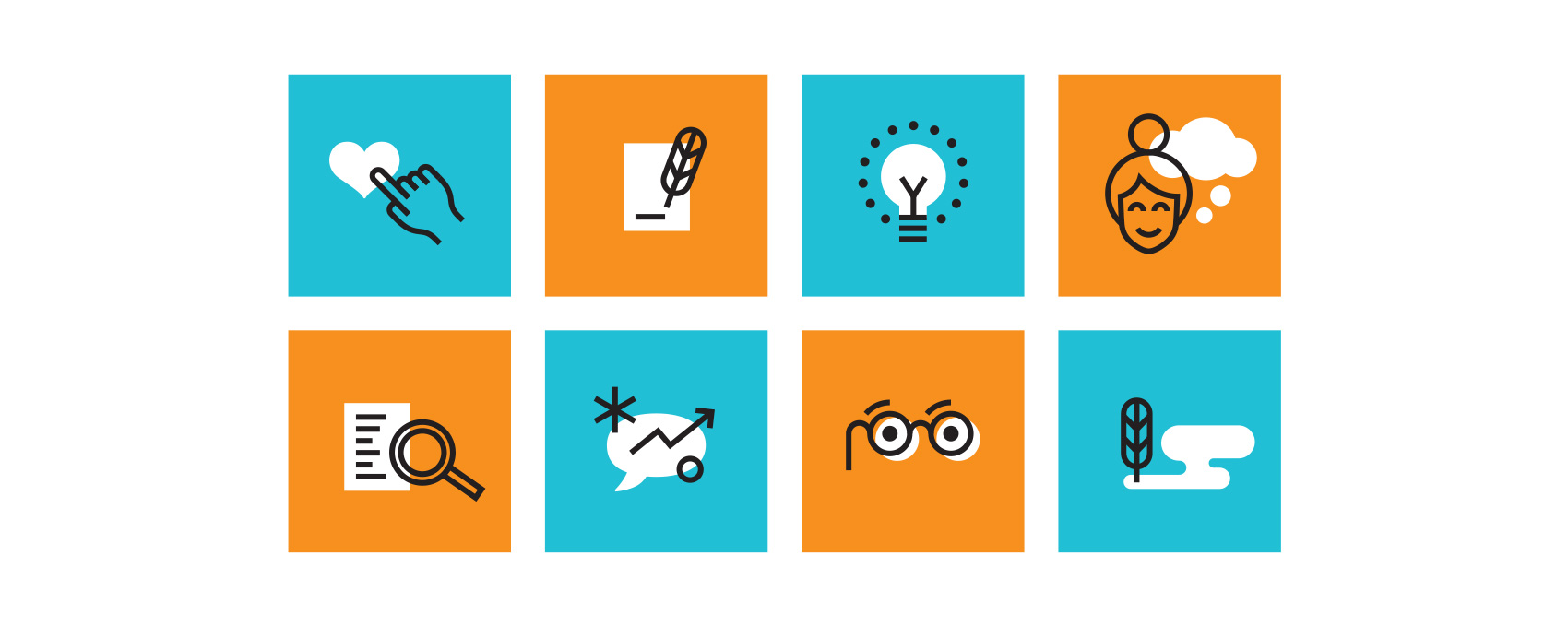 Series of icons for law firm including quill pen signing, light bulb, search function, smart glasses, signature bubble, conversation and thought bubble.