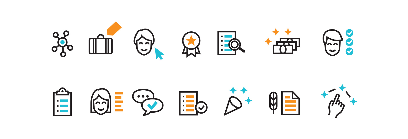 Icon set for Hire an Esquire - network, briefcase, selecting a lawyer, top notch, searching resumes, paying/payment, requirement fulfillment, checklist/clipboard, lawyer profile, checklist, signing a document, connecting the dots.