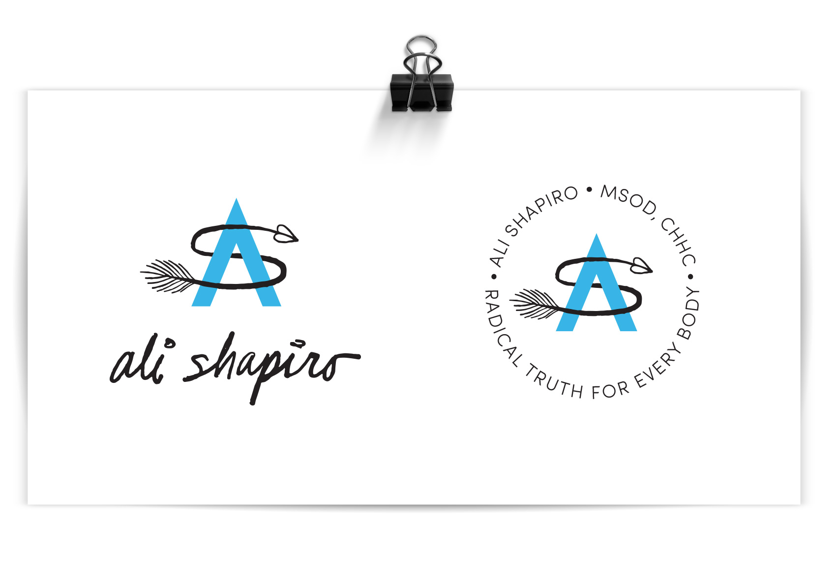 Ali Shapiro logos - an AS monogram with a modern A and a windy feather arrow S.