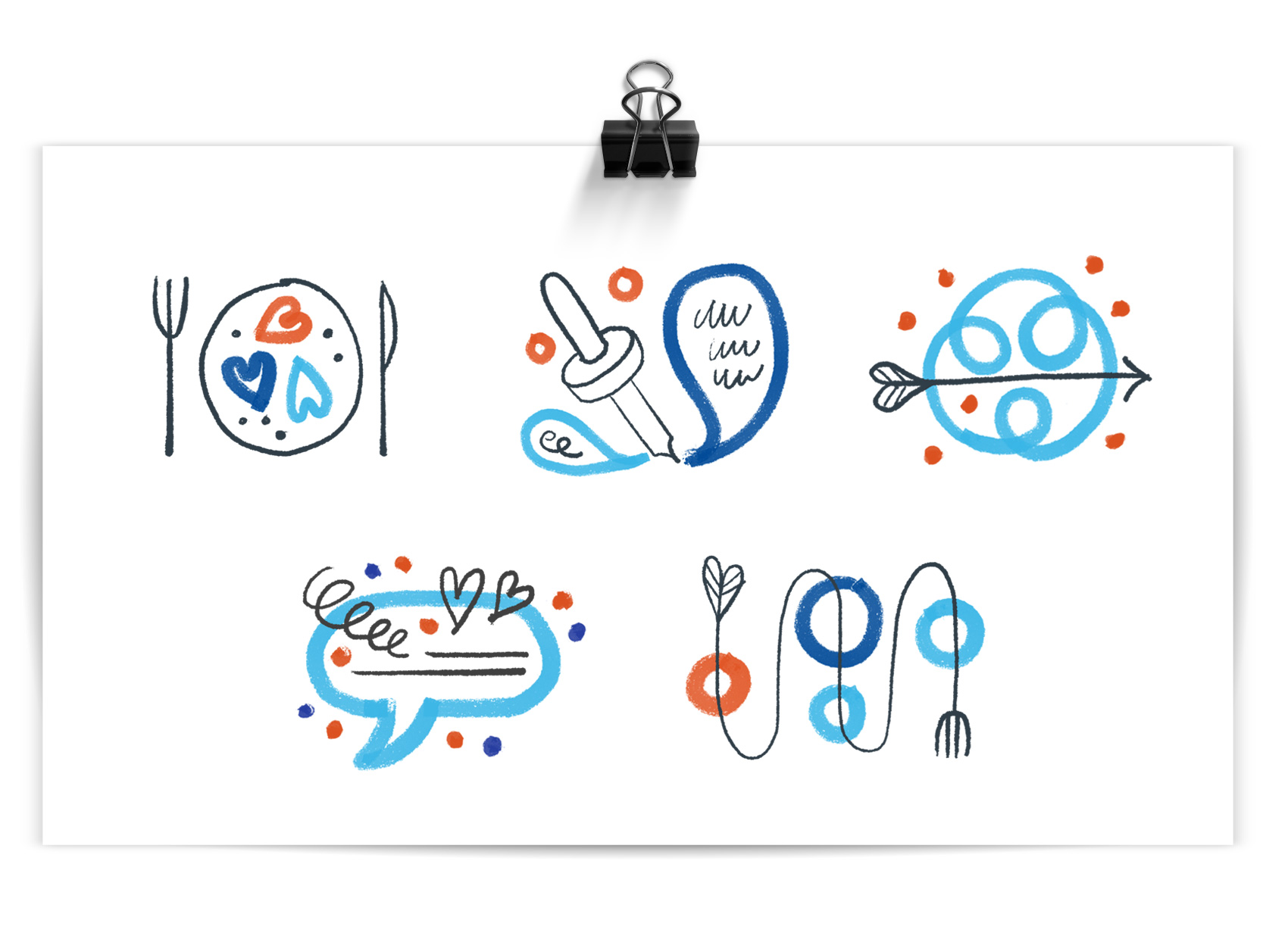 Program icons of: plate of hearts, eye dropper conversations, arrow through chaos, conversation bubble support, winding fork path.