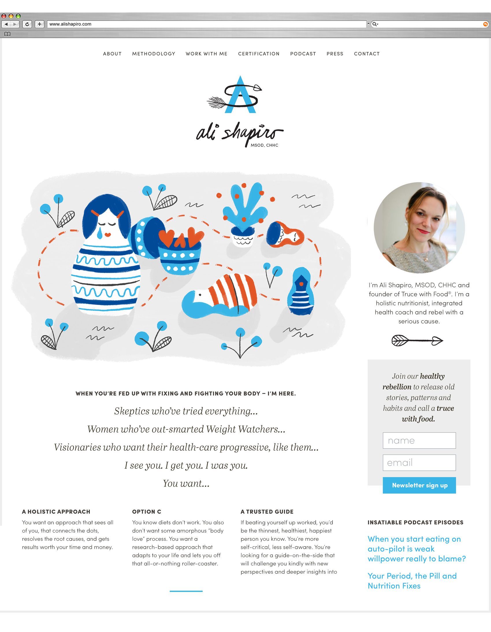 Snapshot of Ali Shapiro website with sidebar, portrait, signup area and illustration of Russian nesting dolls.