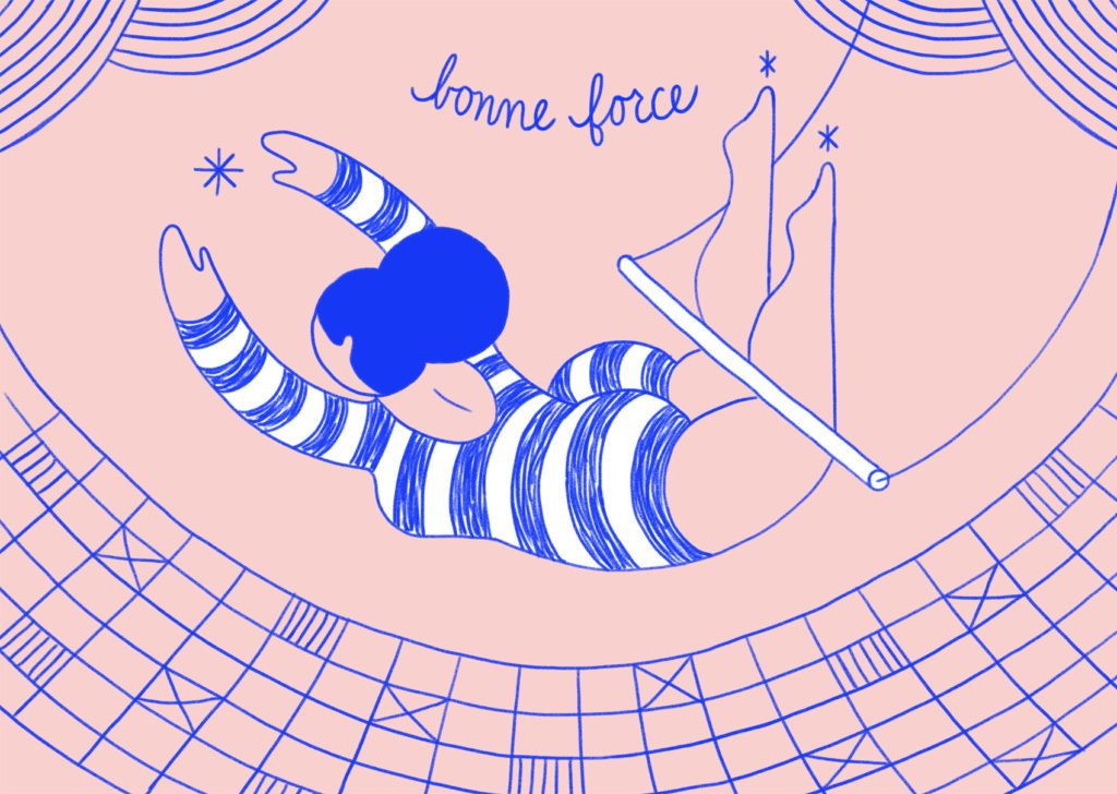 Pink and reflex blue artwork: a trapeze artist swings above the net, wearing a striped unitard. Bonne force.