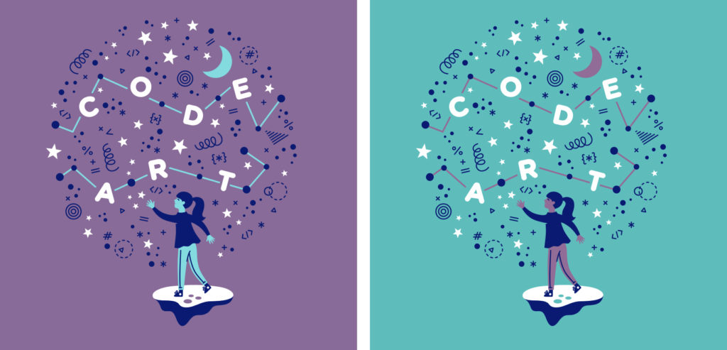 Code/Art t-shirt design with a girl throwing code snippets into the sky to form a Code/Art constellation.