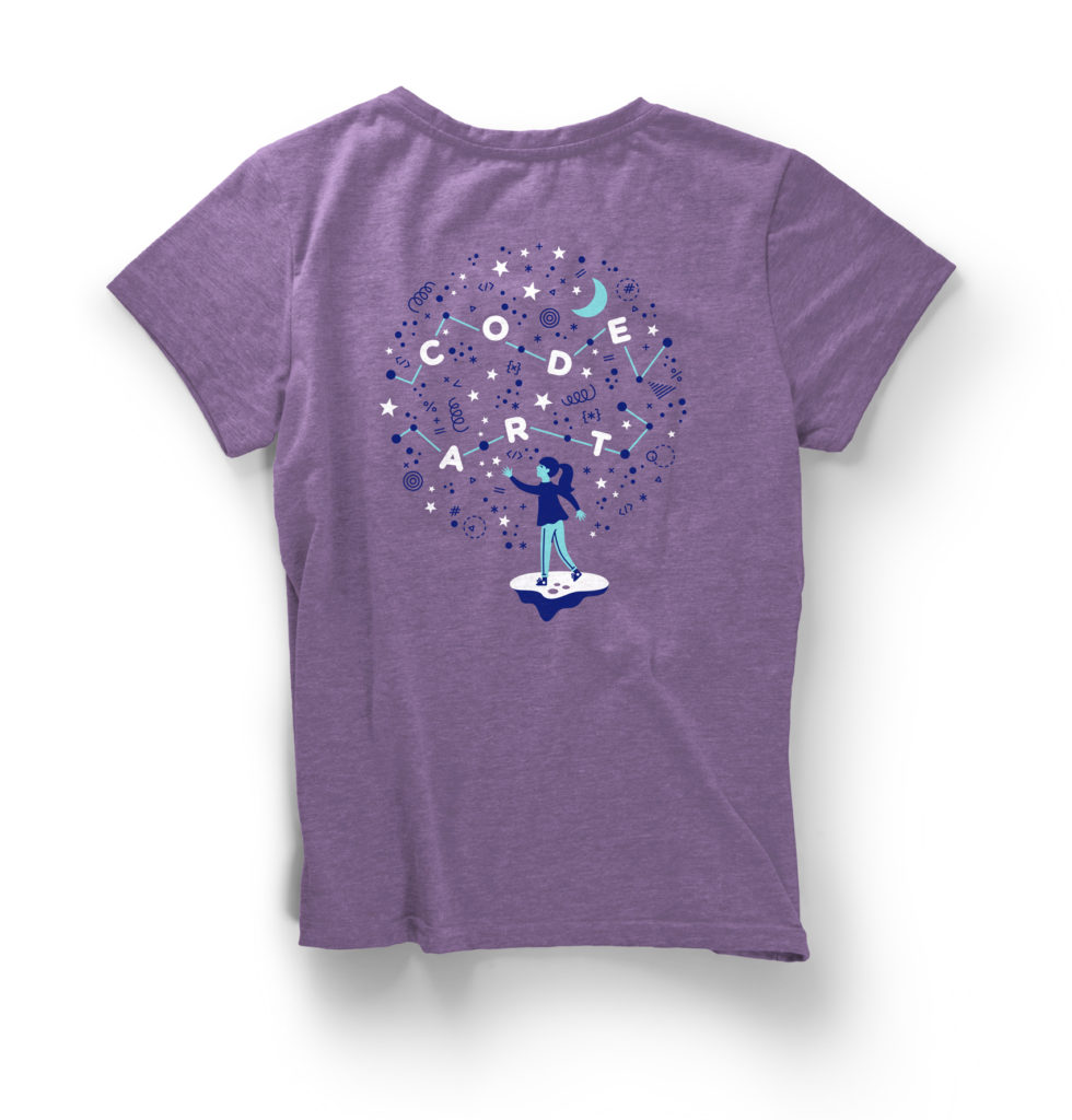 Code/Art participant shirt in lilac.