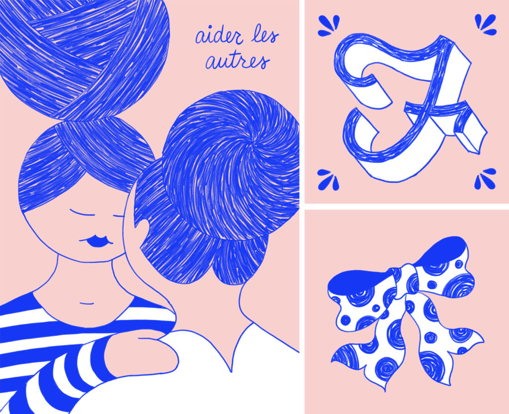 Pink and reflex blue artwork: two women supporting each other, with lots of sketched texture in their hair buns. F is for Femme (vintage drop cap) and a polka dot bow.