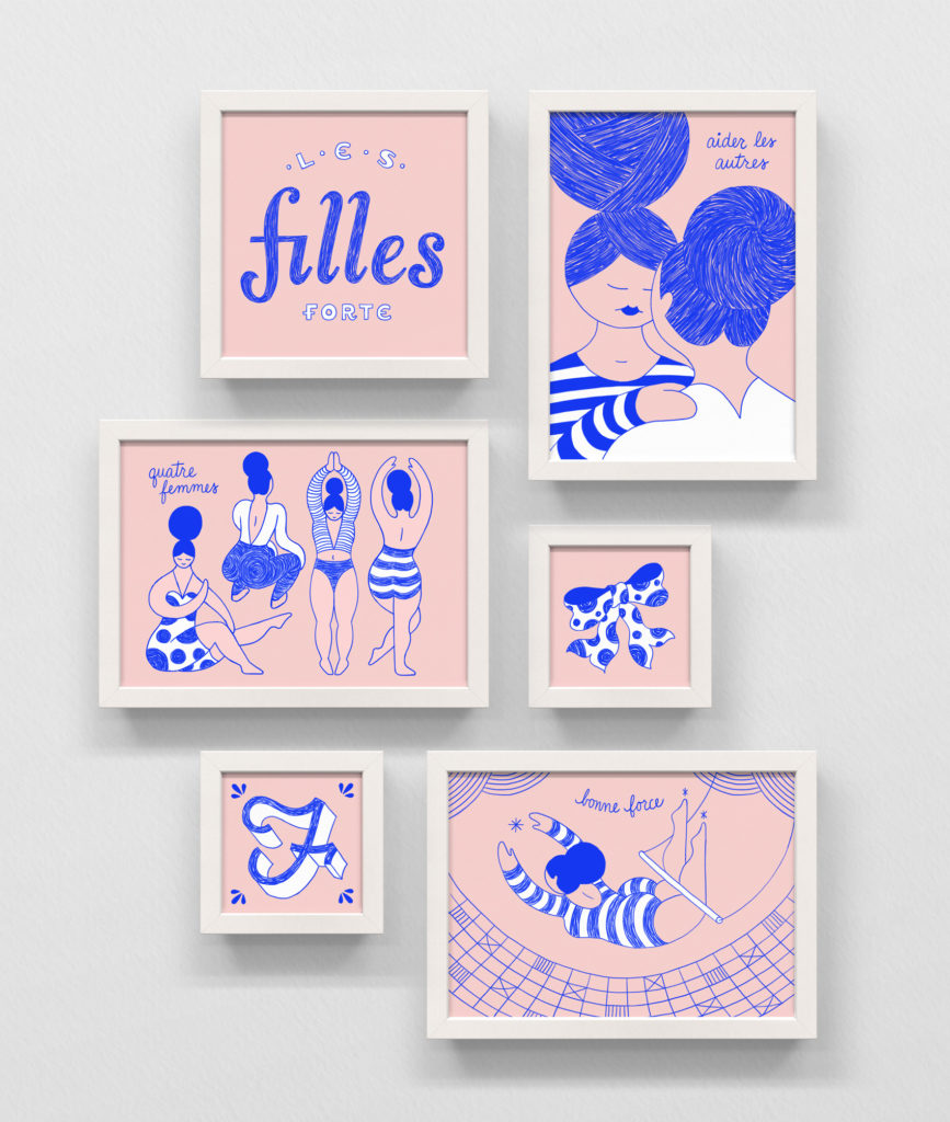Frame series of pink and reflect blue illustrations in ballpoint ink / sketched digital pencil. Several women dancing and stretching, a trapeze artist, F is for Femme, and two woman supporting each other.