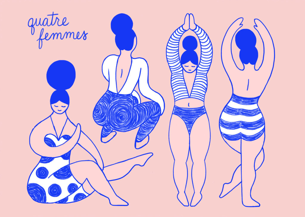 Pink and reflex blue artwork: four female figures stretching and dancing, wearing dots and stripes.