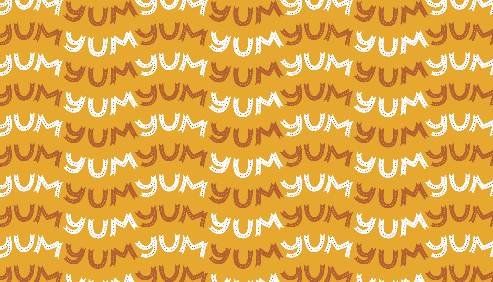 Overall YUM YUM YUM pattern in waves, hand lettered bright lights typography.