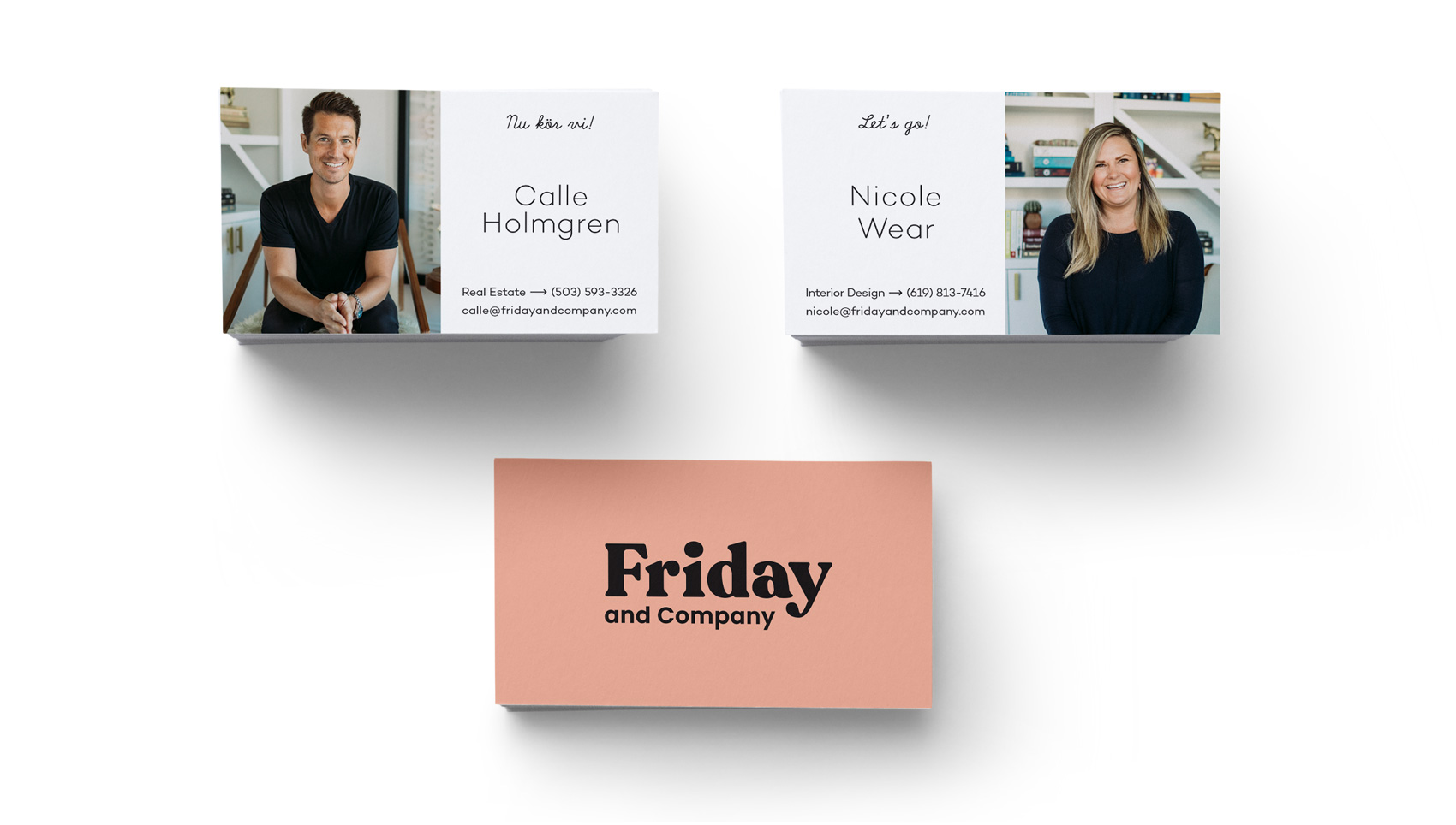 Business cards for the duo reflect their Swedish ties.