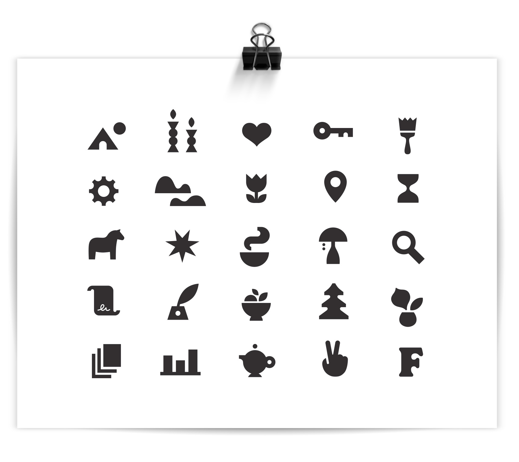 A series of simple and bold icons were created to add flair to an otherwise minimal brand look.