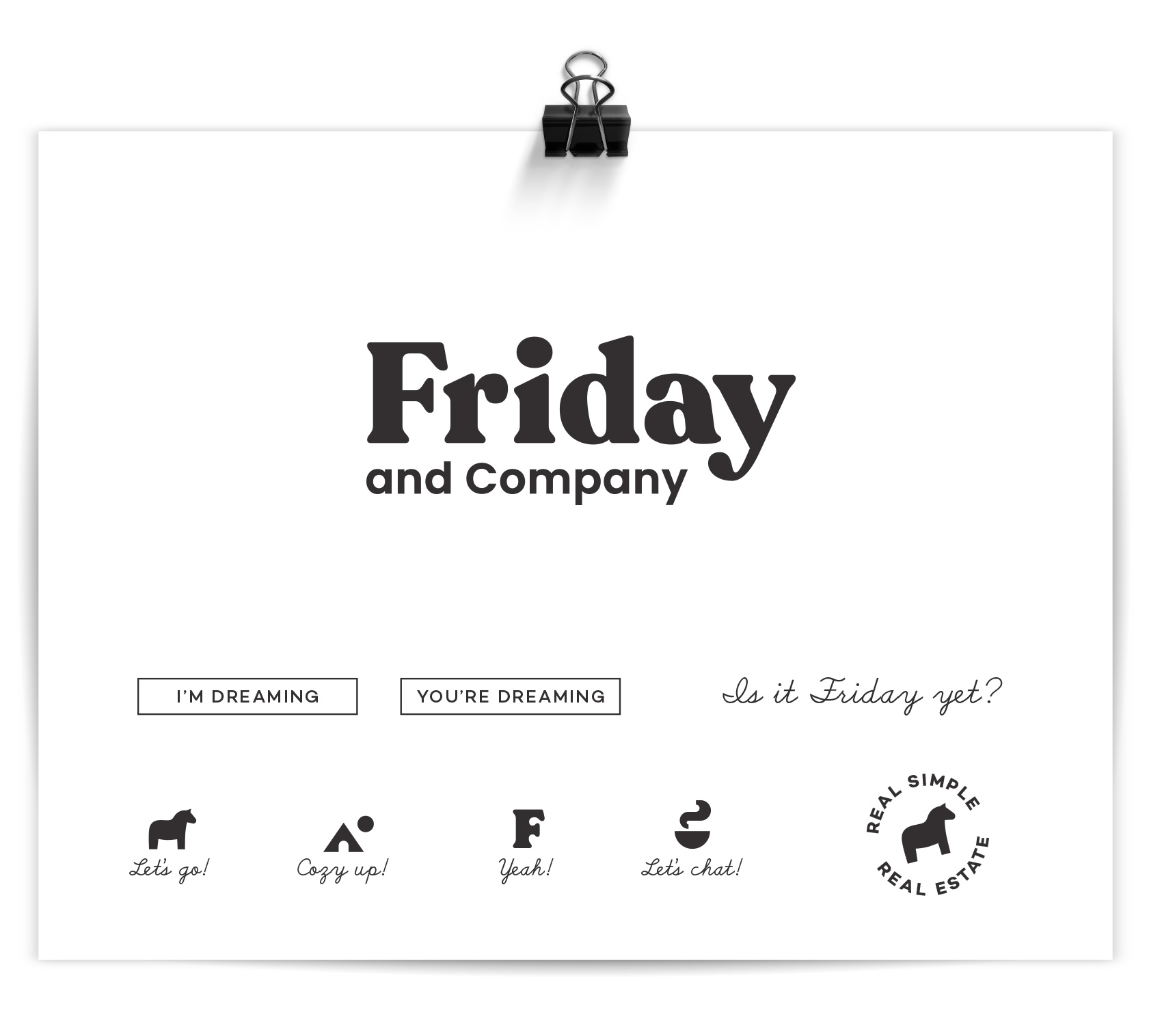 "Friday and Company logo with text styled buttons, font selections, and a series of small icons including a dala horse ""real simple real estate"" badge."
