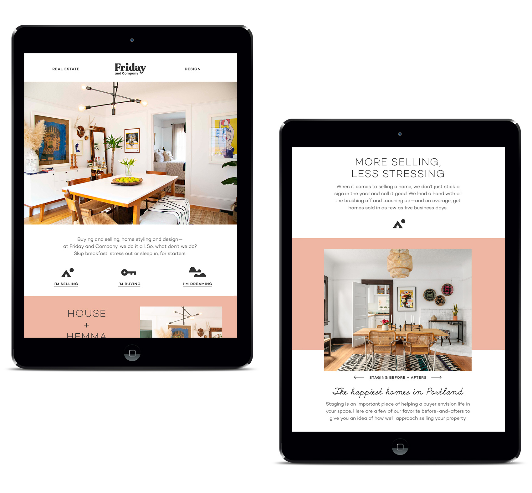 Friday and Company website design for homepage and seller flow page. Staging houses for a sale makes a huge difference in time on the market and buyer impression.