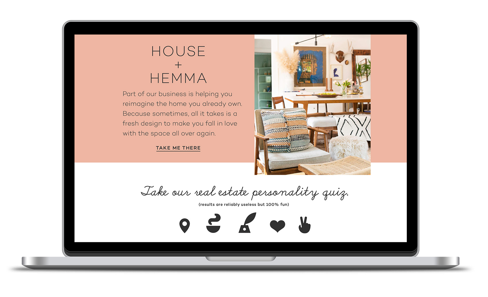 Friday and Company website - House + Hemma. Taking a holistic approach, design and staging is integrated into their realty business.