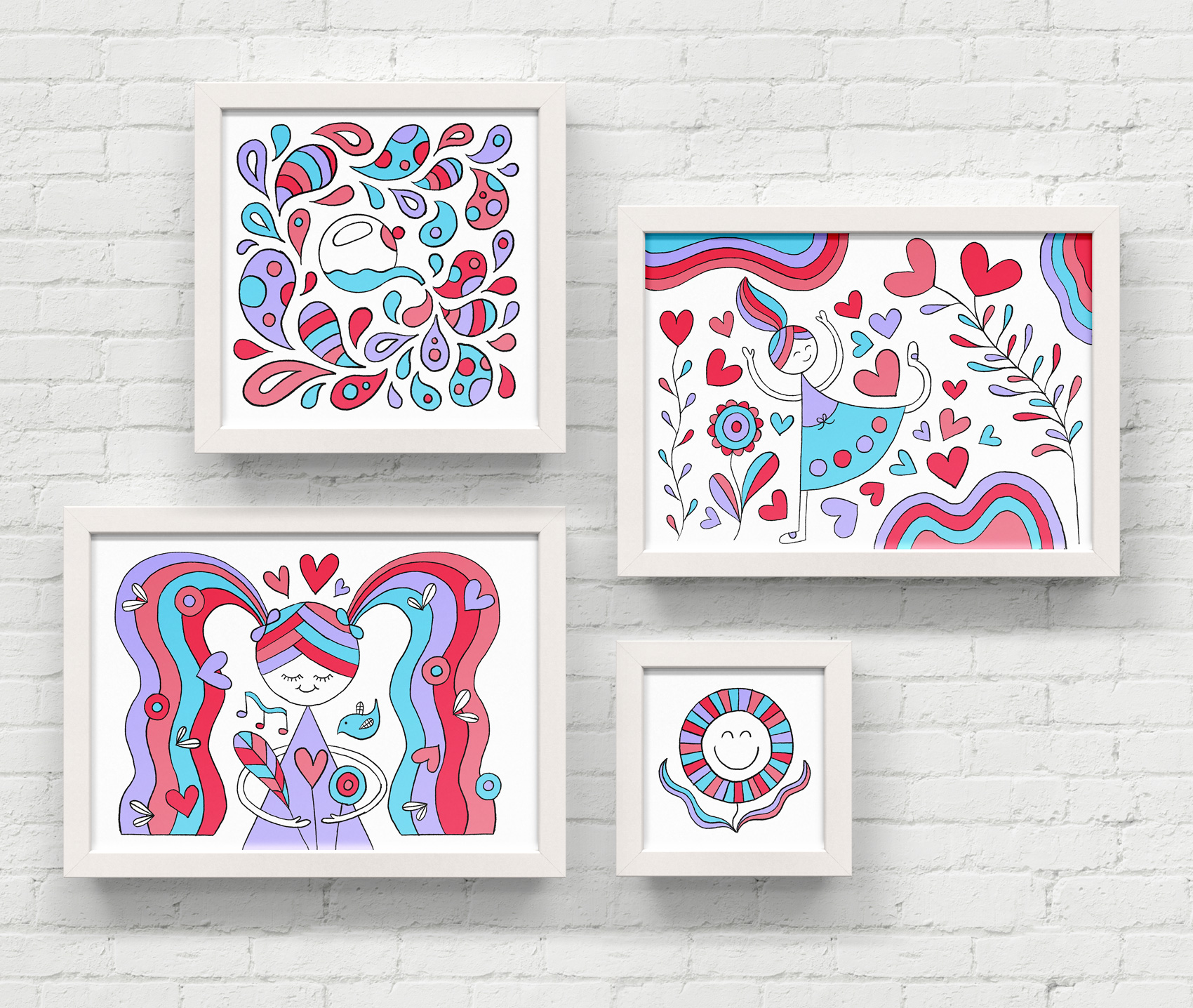 Series of hand drawn illustrations in rainbow colors: a watering can splashing droplets of water, a girl running through a flower heart flurry, a girl with pigtails holding a bouquet, and a happy flower face.