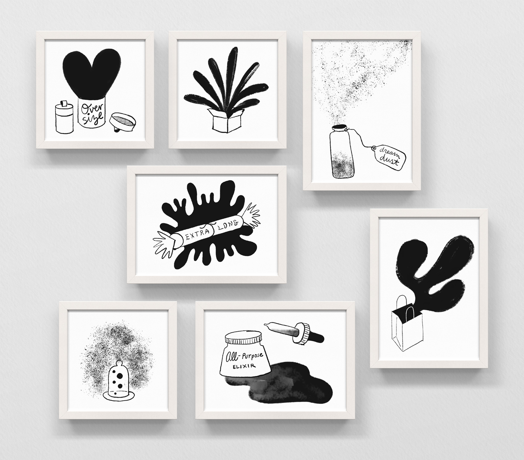 Series of black and white digital illustrations of fantastical gifts, including: oversize heart, exploding box of joy, dream dust, extra long, out of the bag, bell jar bubbles, and all-purpose elixir. Done in a rough scratchy style on an iPadPro.