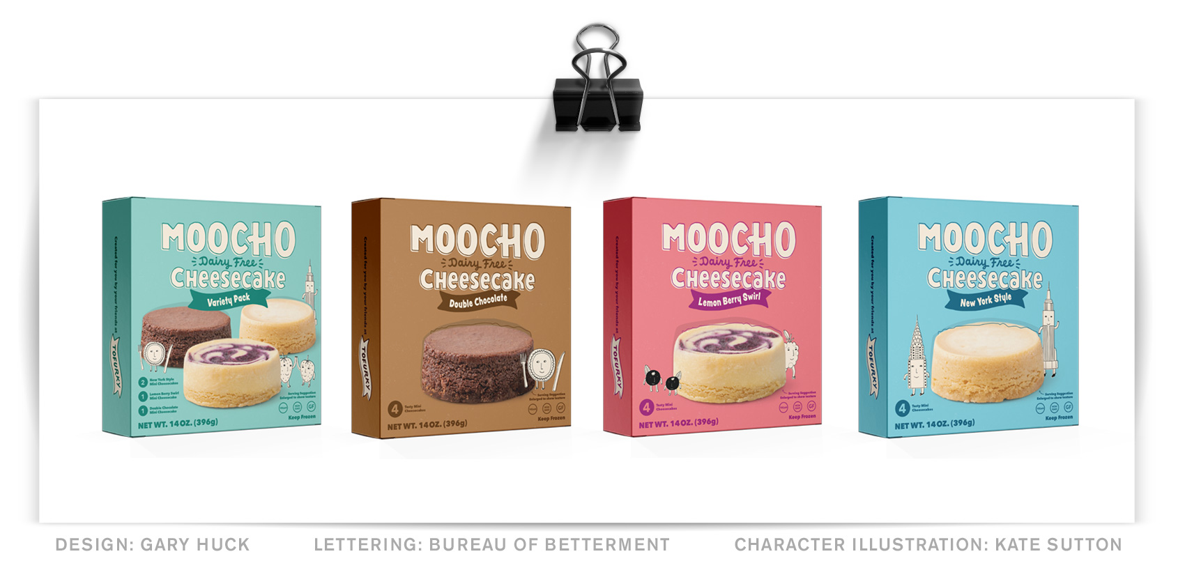 Series of four Moocho Cheesecake packaging boxes (design: Gary Huck) with a hand lettered MOOCHO word mark and product title and flavor.