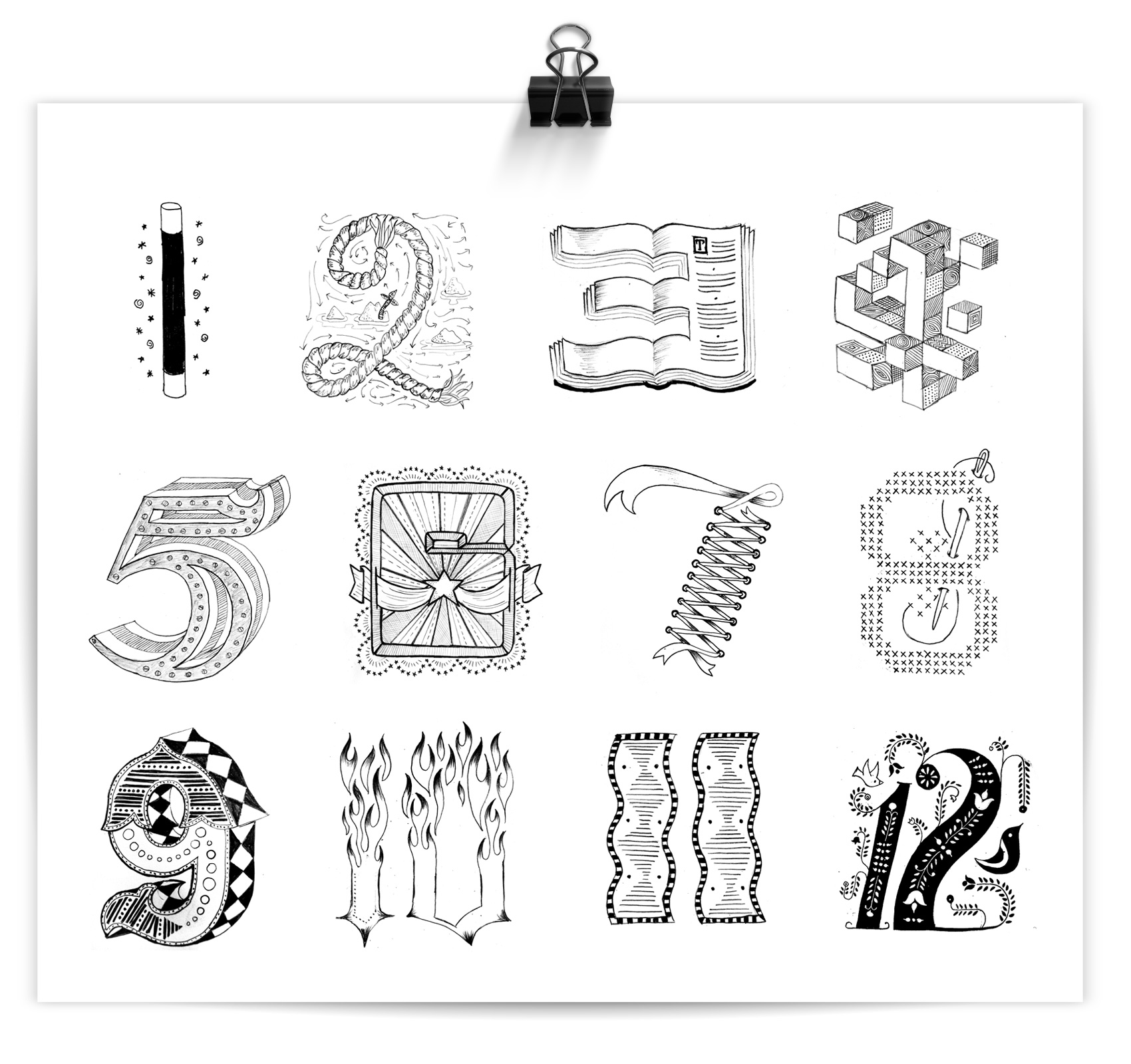 sketches of hand drawn numbers with distinct personalities, No. 1-12
