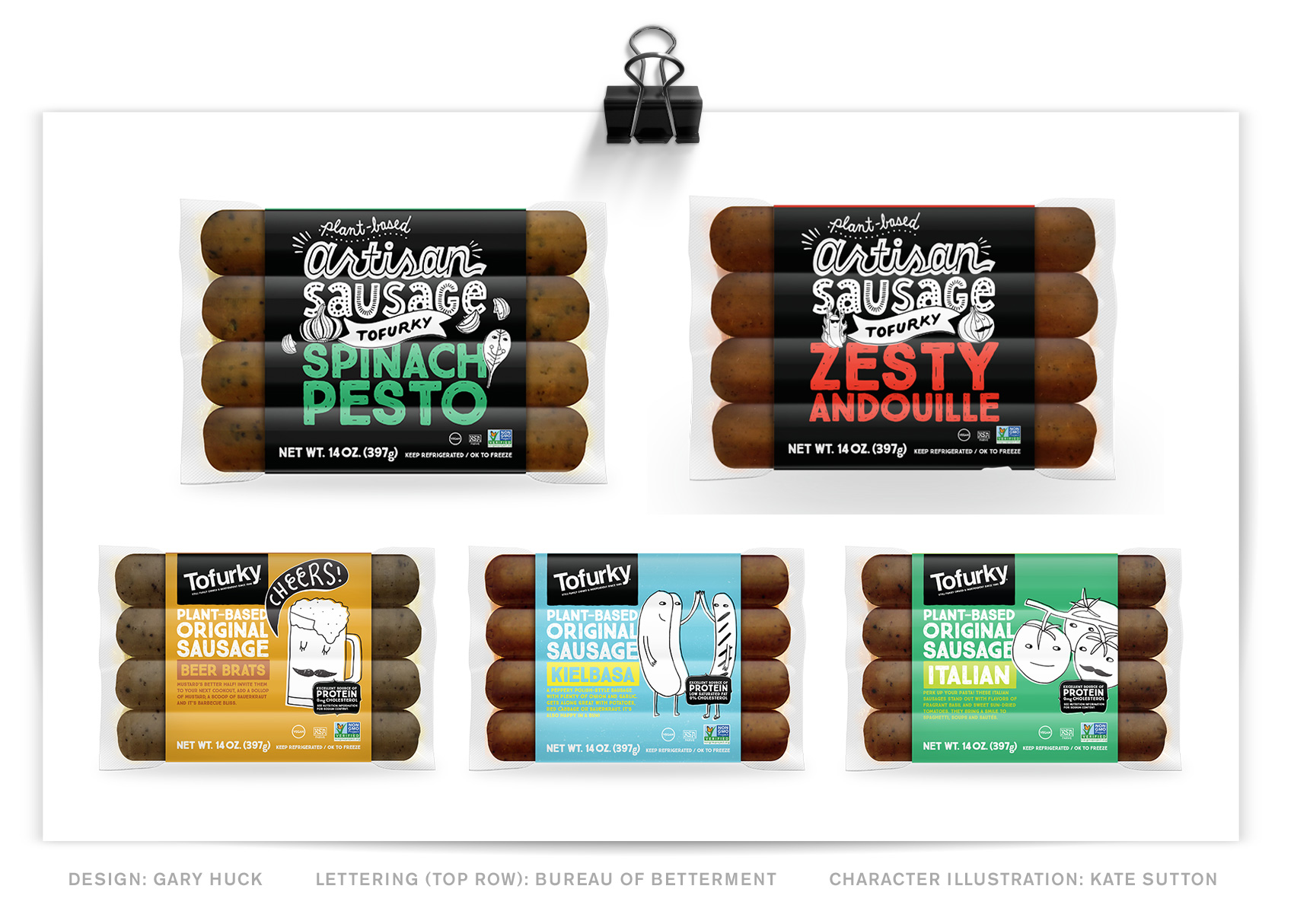 Hand lettering featured on Tofurky artisan sausage packaging.