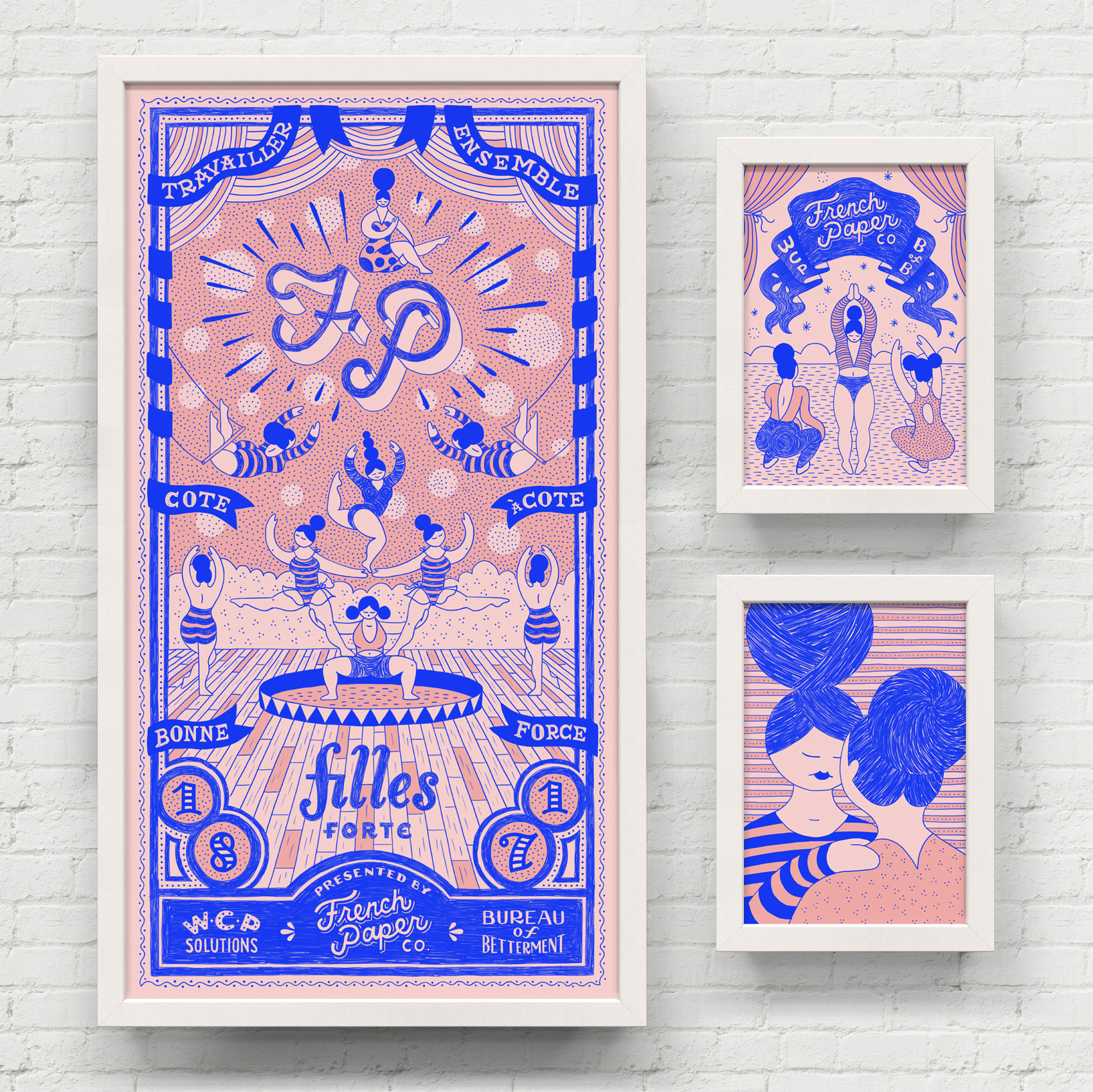 Trio of framed posters, blue ink on pink paper, of french circus performers.