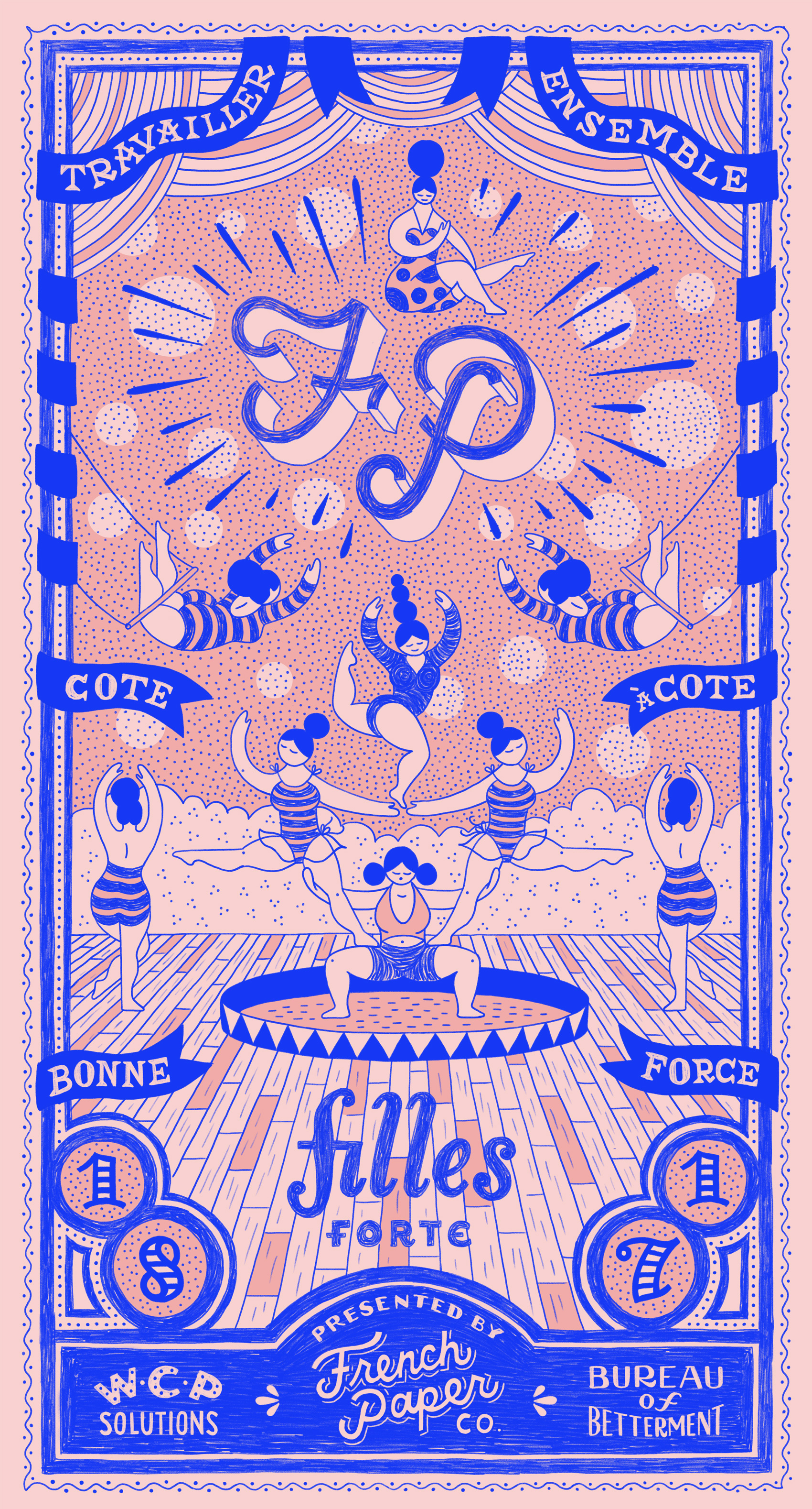 Trio of framed posters, blue ink on pink paper, of french circus performers. A pyramid of women and two swinging trapeze artists surround an FP monogram for French Paper Company.