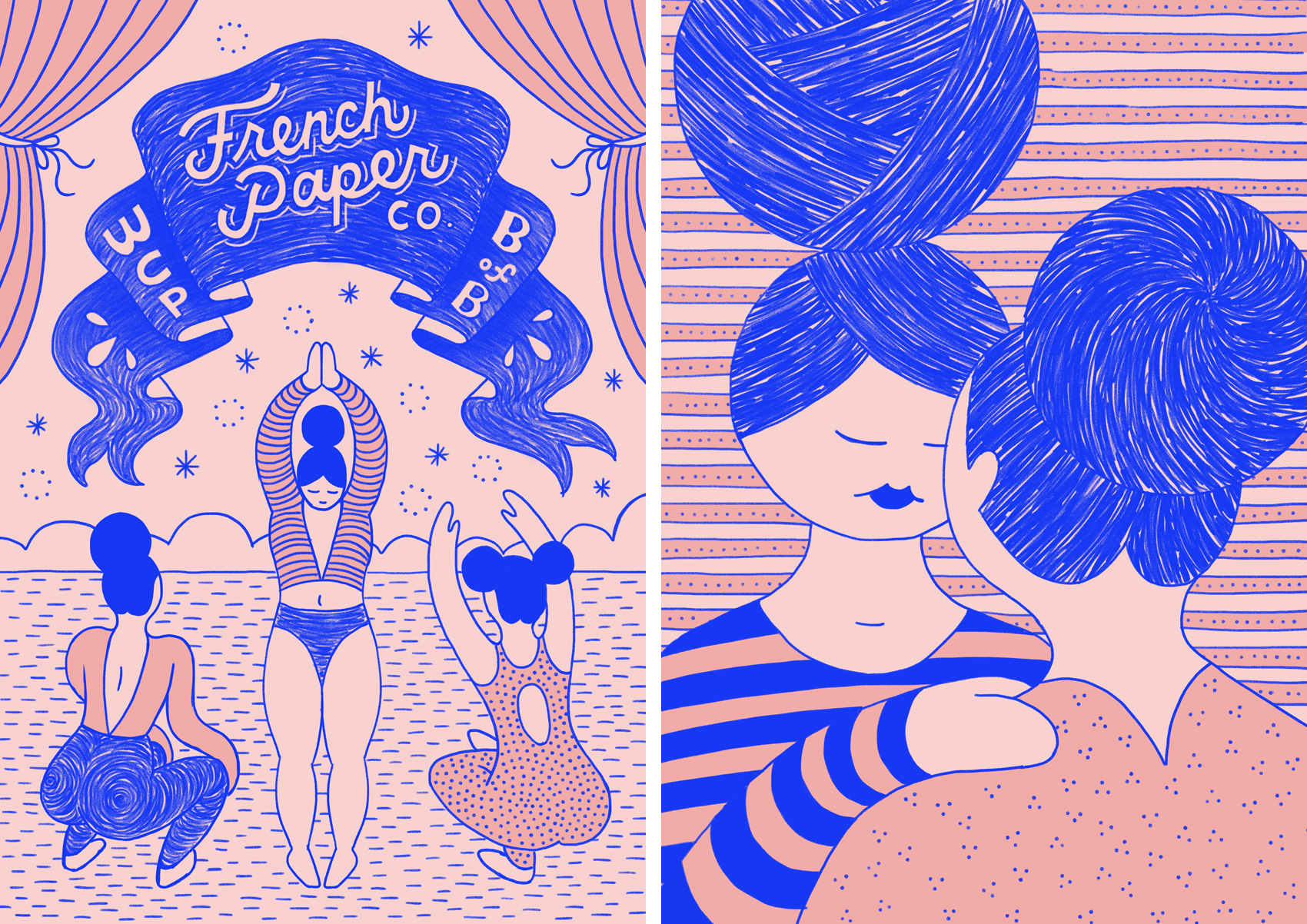 Trio of framed posters, blue ink on pink paper, of french circus performers. Left image is three women under a banner (French Paper Company), right image is two women chatting closely.