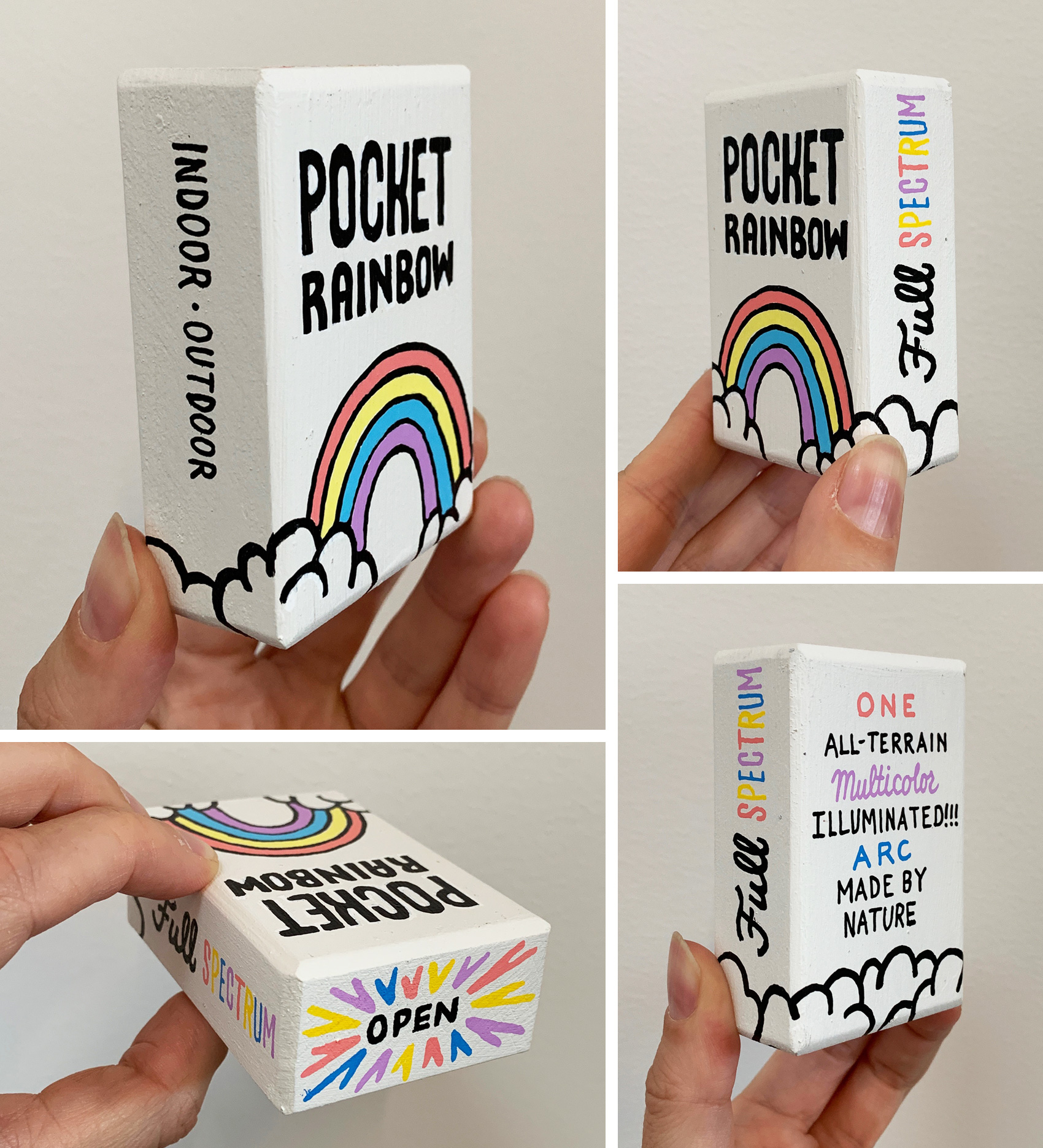 Small painted wooden box to resemble a package - of a Pocket Rainbow. One full-spectrum indoor / outdoor, all-terrain, multicolor, illuminated arc made by nature.